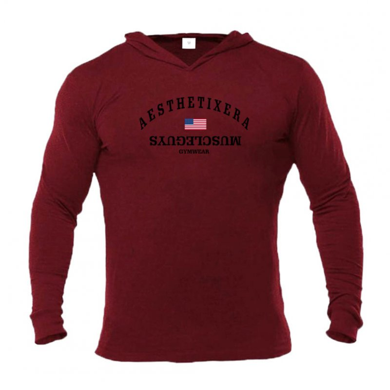 Male Hoodie with Letters Printed Long Sleeves Top Leisure Pullover Slim Sports Wear Red wine_L