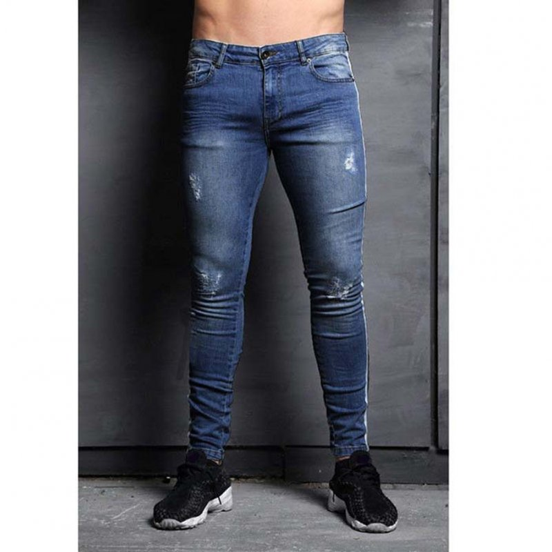 Male Jeans with Knee Holes Slim Trousers Small Feet and Middle Waist Pants Navy_XXL
