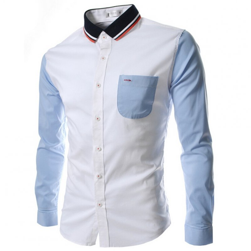 Male Leisure Shirt Long Sleeves and Turn Down Collar Top Single-breasted Cardigan white_L