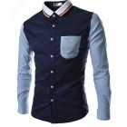 Male Leisure Shirt Long Sleeves and Turn Down Collar Top Single-breasted Cardigan Navy_XL