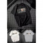 Male Leisure Top with Letters Decorated Short Sleeves and Round Neck Shirt Casual Pullover for Man ASDM black_XL