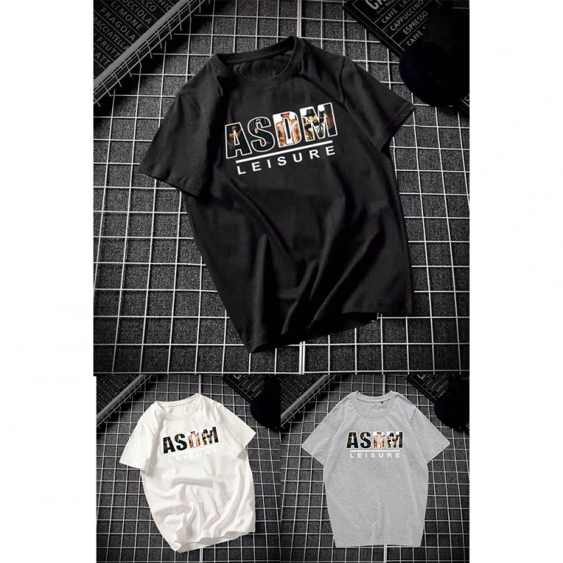 Male Leisure Top with Letters Decorated Short Sleeves and Round Neck Shirt Casual Pullover for Man ASDM black_M