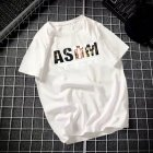 Male Leisure Top with Letters Decorated Short Sleeves and Round Neck Shirt Casual Pullover for Man ASDM white_3XL