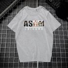Male Leisure Top with Letters Decorated Short Sleeves and Round Neck Shirt Casual Pullover for Man ASDM gray_XL
