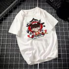 Male Leisure Top with Nezha Cartoon Pattern Decorated Shirt Casual Pullover for Man Nezha white_L