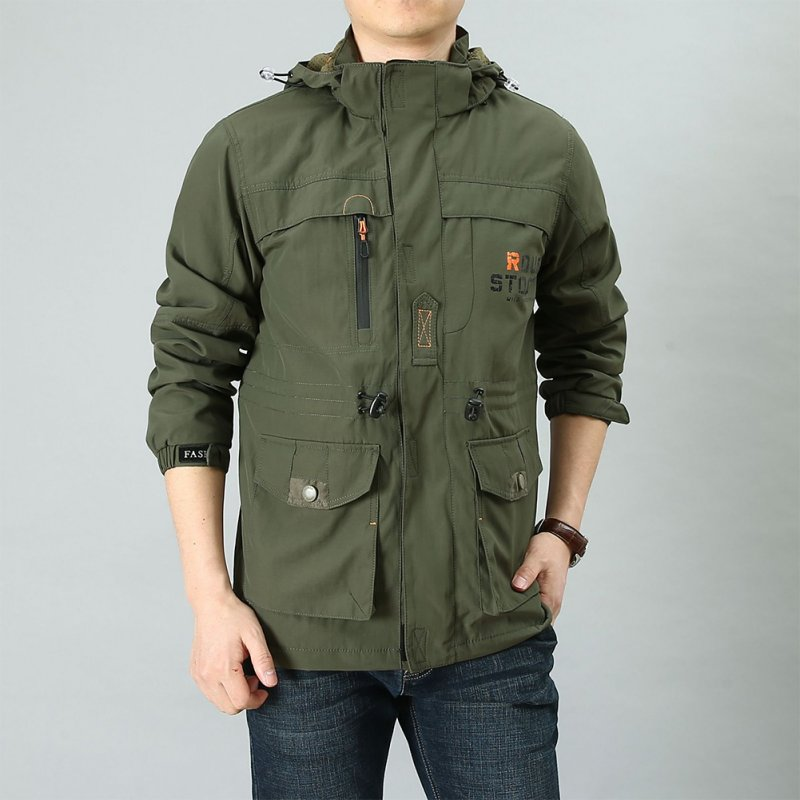 Male Long Sleeves Zippered Sports Wear Casual Hooded Cardigan Outwear Cycling Skiing  ArmyGreen_XXL