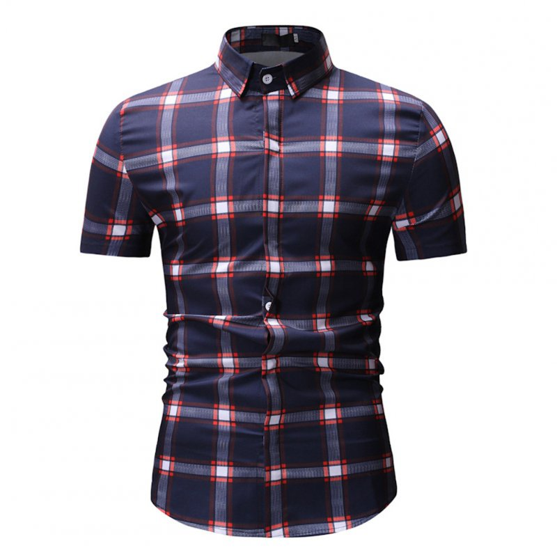 Male Plaid Printed Leisure Shirt of Short Sleeves and Turn-down Top Cardigan Slim Costume Red lattice_XXXL