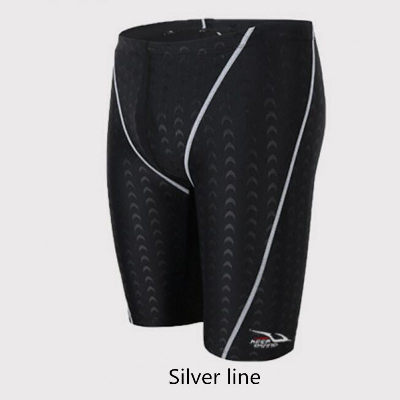 Male Professional Breathable Swim Boxer Half Pants Swimming Trunks Comfortable Hot Spring Swim Wear Diving Suit Gift Silver line_XL