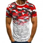 Male Short Sleeves Shirt 3D Pattern Digital Printed Top Leisure Pullover for Man Red camouflage L