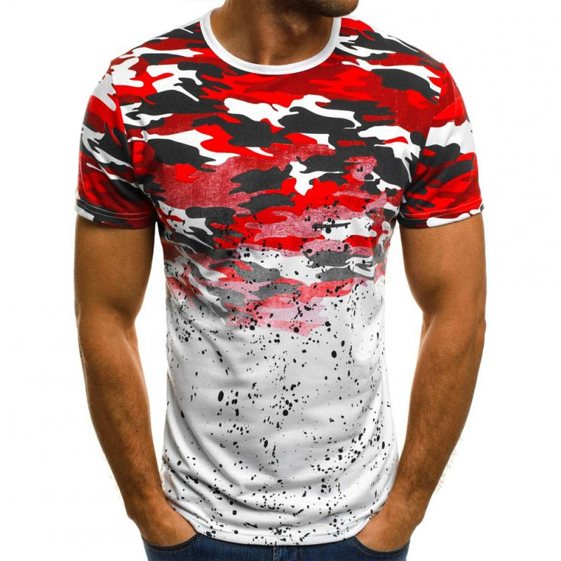 Male Short Sleeves Shirt 3D Pattern Digital Printed Top Leisure Pullover for Man Red camouflage_L