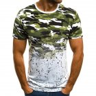 Male Short Sleeves Shirt 3D Pattern Digital Printed Top Leisure Pullover for Man Green camouflage L