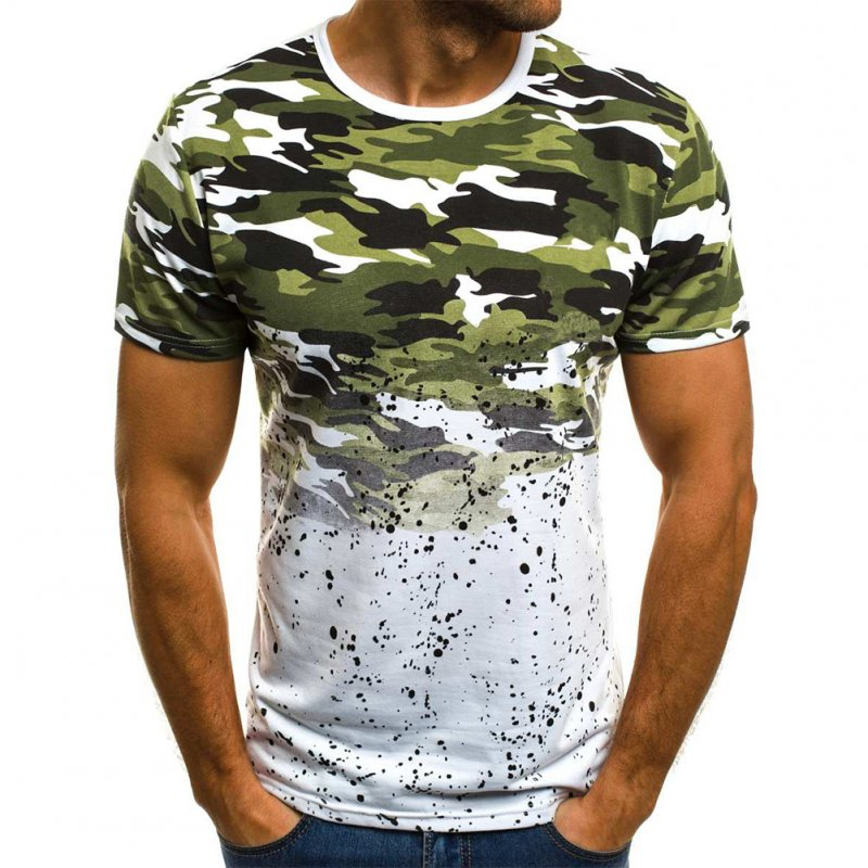 Male Short Sleeves Shirt 3D Pattern Digital Printed Top Leisure Pullover for Man Green camouflage_L