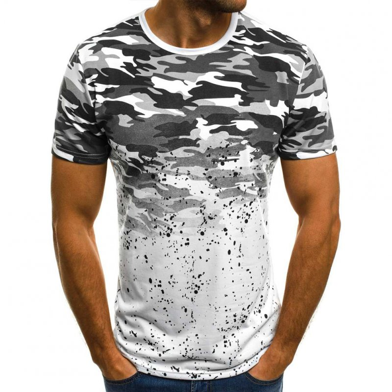 Male Short Sleeves Shirt 3D Pattern Digital Printed Top Leisure Pullover for Man Grey camouflage_L