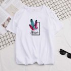 Male Short Sleeves Shirt Feathers Printed Top Pure Cotton Leisure Pullover 634 white_M
