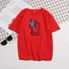 Male Short Sleeves Shirt Feathers Printed Top Pure Cotton Leisure Pullover 634 red XL