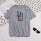 Male Short Sleeves Shirt Feathers Printed Top Pure Cotton Leisure Pullover 634 gray M