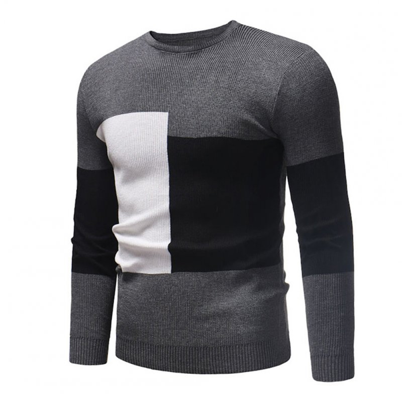 Male Sweater of Long Sleeves and Round Neck Casual Contrast Color Top Pullover Base Shirt gray_M
