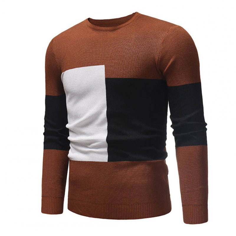 Male Sweater of Long Sleeves and Round Neck Casual Contrast Color Top Pullover Base Shirt caramel colour_M
