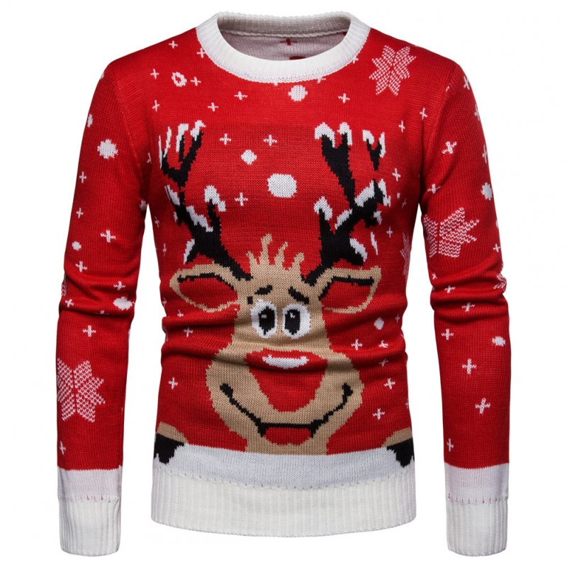Male Winter Sweater Cute Elk Pullover Round Collar Knitwear red_XL