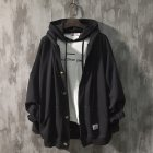 Man Fashion Autumn And Winter Warm Loose Hooded Sweater Coat Tops 563 black (spring)_L