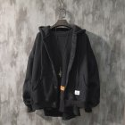 Man Fashion Autumn And Winter Warm Loose Hooded Sweater Coat Tops 563 black (winter plus velvet)_L