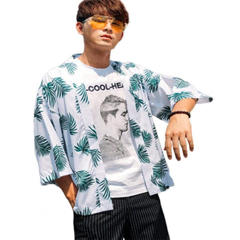 Man Floral Retro Trend Casual Loose Beach Couple Short-sleeved Fashion Shirt Army Green_S