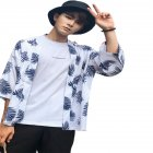 Man Floral Retro Trend Casual Loose Beach Couple Short-sleeved Fashion Shirt Blue_S
