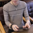 Man Long sleeves and Round Neck Top Slim Pullover Sweater with Strips Decorated Khaki_2XL