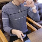Man Long sleeves and Round Neck Top Slim Pullover Sweater with Strips Decorated Navy_XL