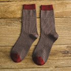 Man Mixed Colors Cotton Midium Length Business Casual Socks Brown_One size