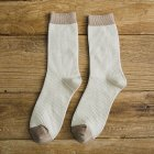 Man Mixed Colors Cotton Midium Length Business Casual Socks beige One size