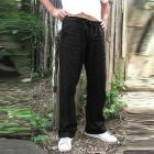 Man Plain Straight Track Pants Jogger Drawstring Slacks Casual Pants black_XXXL