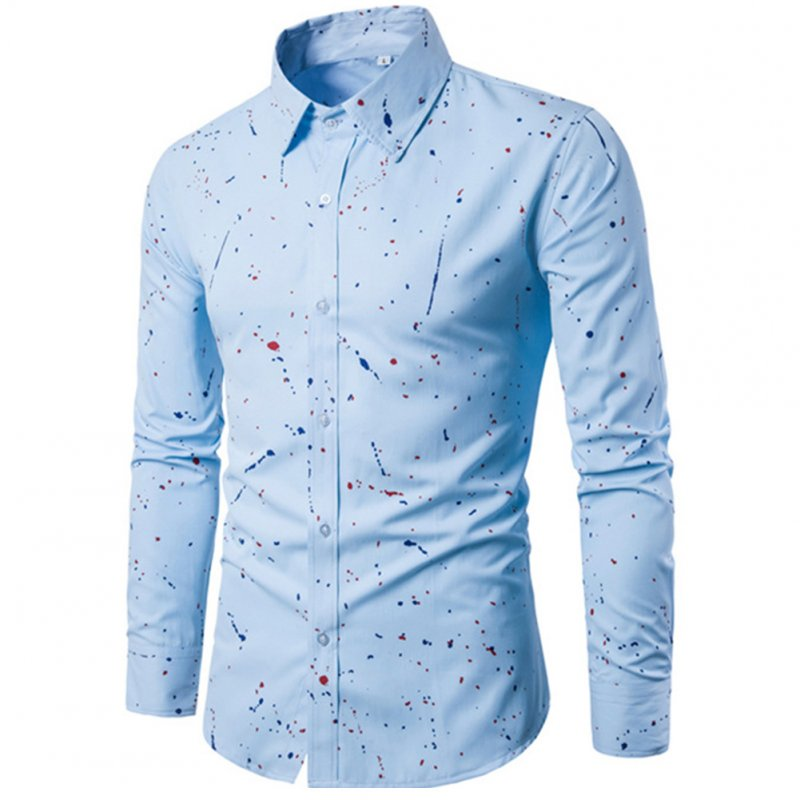 Man Single-breasted Leisure Shirt Long Sleeves and Lapel Cardigan Top with Floral Printed Light blue_2XL