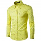 Man Single-breasted Leisure Shirt Long Sleeves and Lapel Cardigan Top with Floral Printed yellow_XL