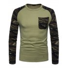 Man Stylish Long-Sleeve Sweater Camouflage Round Collar T-Shirt Tops Coat green_M