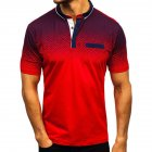 Man Summer 3D Printing Short Sleeves Lapel Polo Shirt  red_L