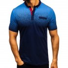 Man Summer 3D Printing Short Sleeves Lapel Polo Shirt  Navy_XXL