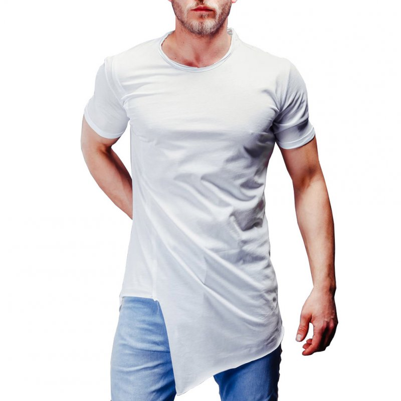 Man Summer Casual Style Round Collar Short Sleeves Irregular Bottom T-shirt white_XL