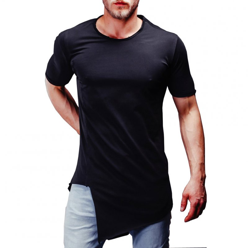 Man Summer Casual Style Round Collar Short Sleeves Irregular Bottom T-shirt black_M