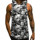 Man Vest Camouflage Casual Tops Patchwork Running Jacket Sleeveless Sports Wear gray_XL