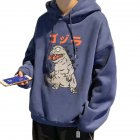 Man Woman Oversize Hoodie Spring Autumn Loose Cartoon Dinosaur Printing Pattern Drawstring Hoodie Purple_M