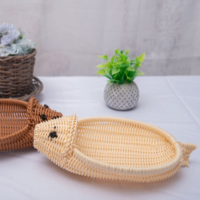 Manual Cartoon Mouse Shape Woven Storage Basket of Tabletop Container Random Color Random color