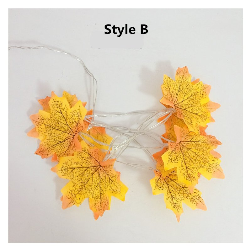 Maple Leaves Shape LED String Light Christmas Halloween Fence Party Stair Railing Decoration Battery Box