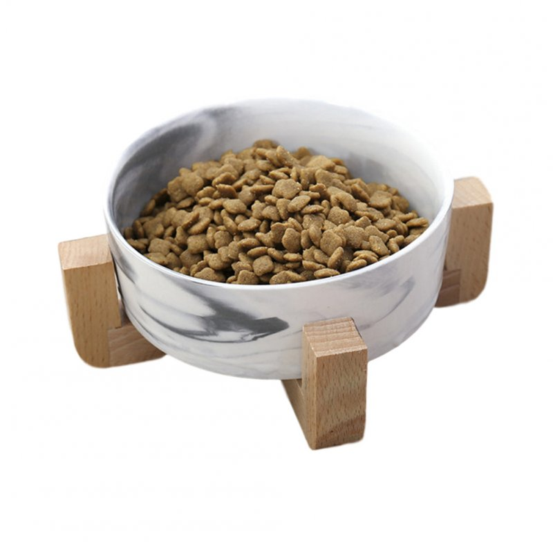 Marbling Ceramic Bowl with Wooden Rack for Pet Food Water Drinking Feeder blue