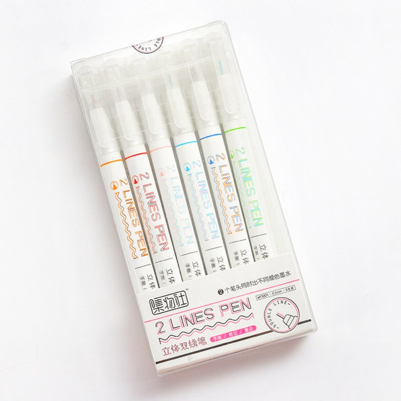 Marker pen 2-color Marker Pen Stereo Color Pen Double line pen-WP3001 (6 pcs)