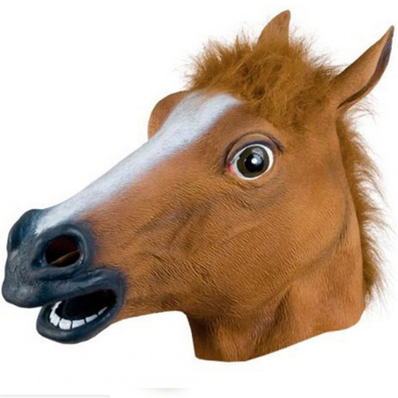 Mask Cosplay Masquerade Funny Halloween Mask Wig Brown horse head