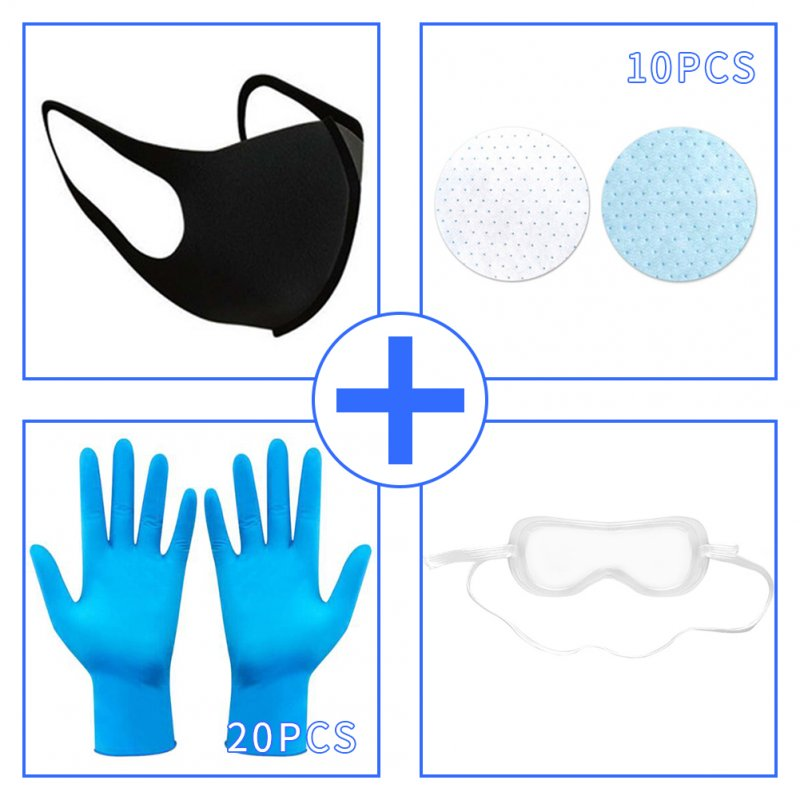 Mask + Filter + Goggles + Disposable Gloves Set Anti acteria Dustproof Protective Cover L_Mask + gasket * 10 + goggles * 1 + gloves * 20