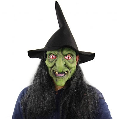 Halloween Mask Scary Green Witch Face