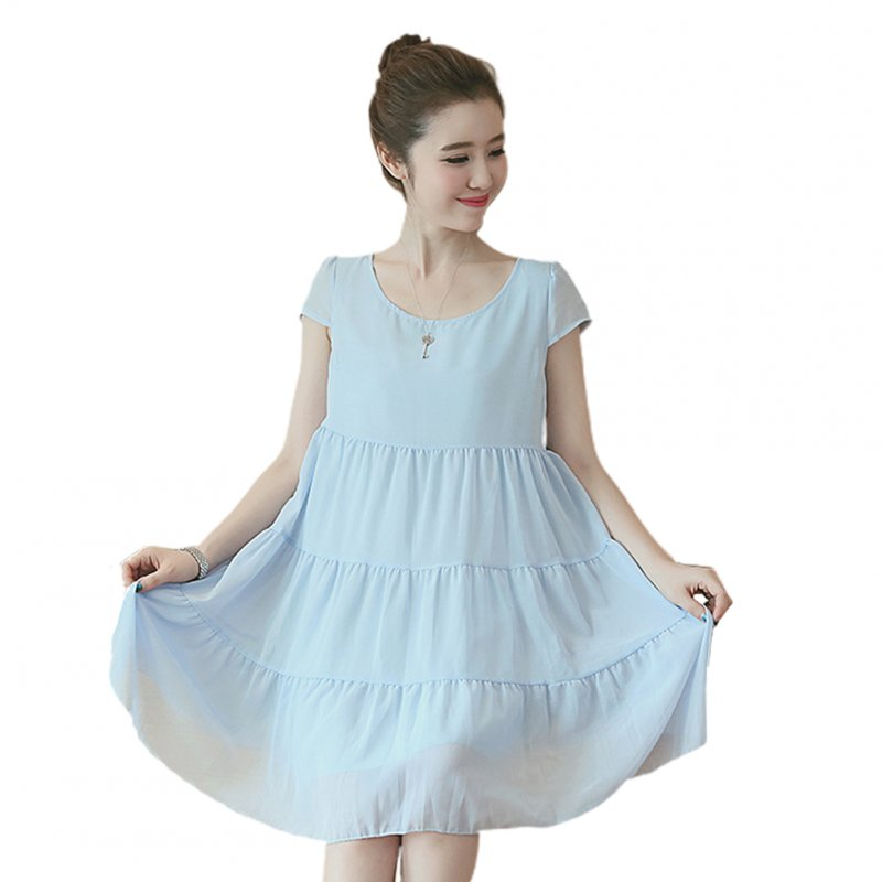 Maternity Dress Chiffon Sweet Pleated Dress Loose Breathable Pregnant Woman Clothes sky blue_M