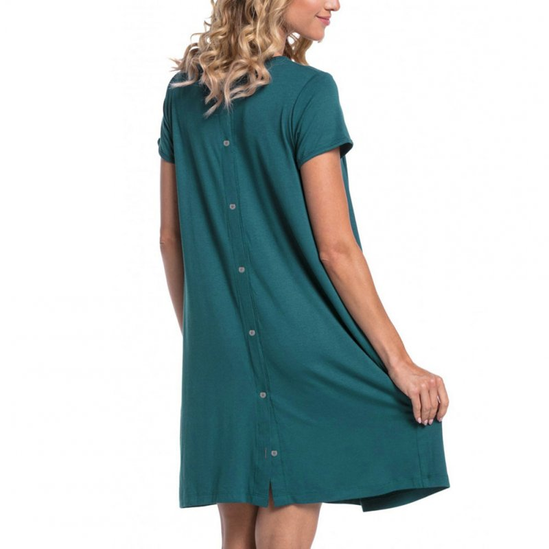 Maternity Simple Short Sleeves Hidden Openings Pregnant Woman Breastfeeding Nursing Dress  green_XXL